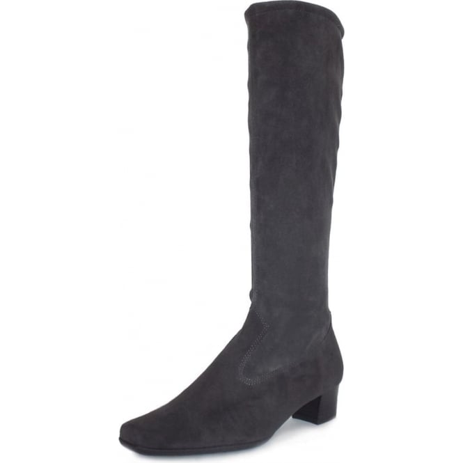 Peter Kaiser Aila Pull On Stretch Suede Knee High Boots in Grey