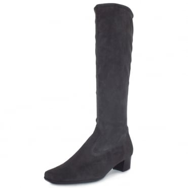 Aila Pull On Stretch Suede Knee High Boots in Grey