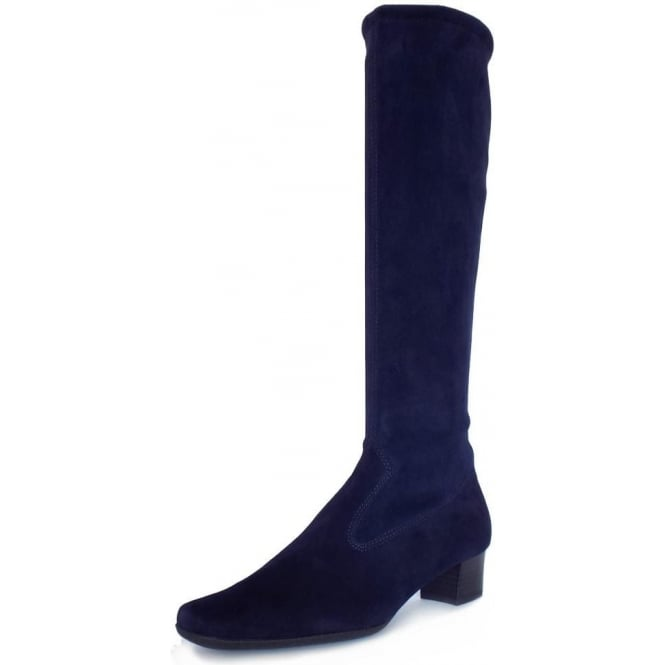 Peter Kaiser Aila Pull On Stretch Suede Knee High Boots in Navy