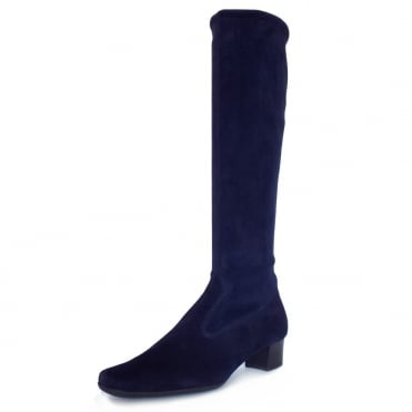 Aila Pull On Stretch Suede Knee High Boots in Navy