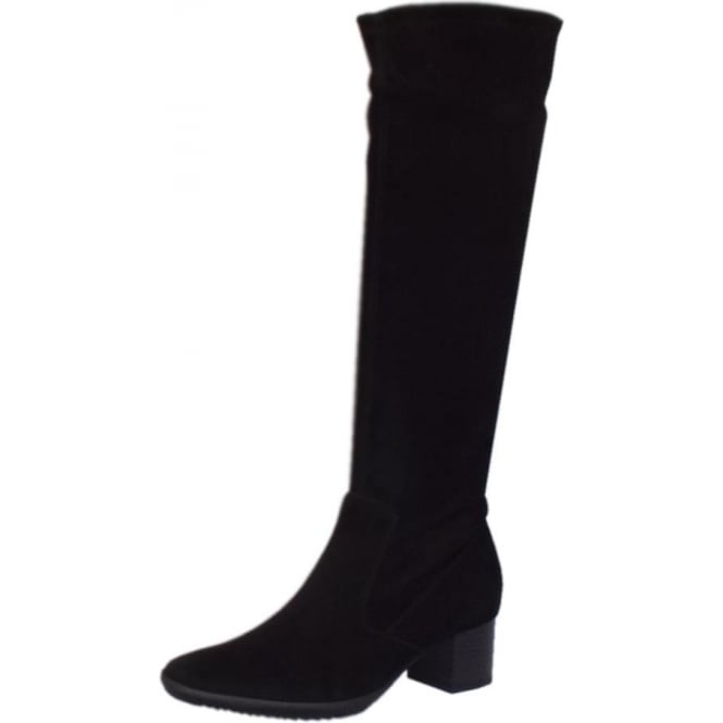 Ailo Pull On Stretch Suede Knee High Boots in Black