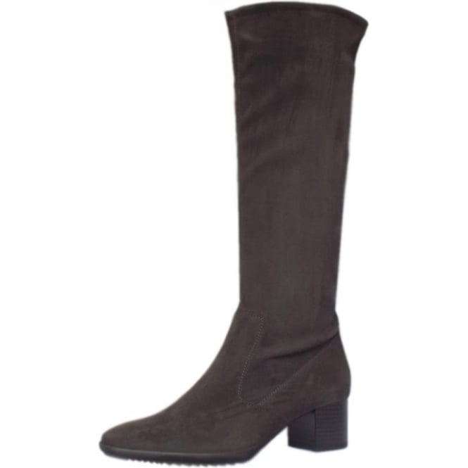 Ailo Pull On Stretch Suede Knee High Boots in Carbon