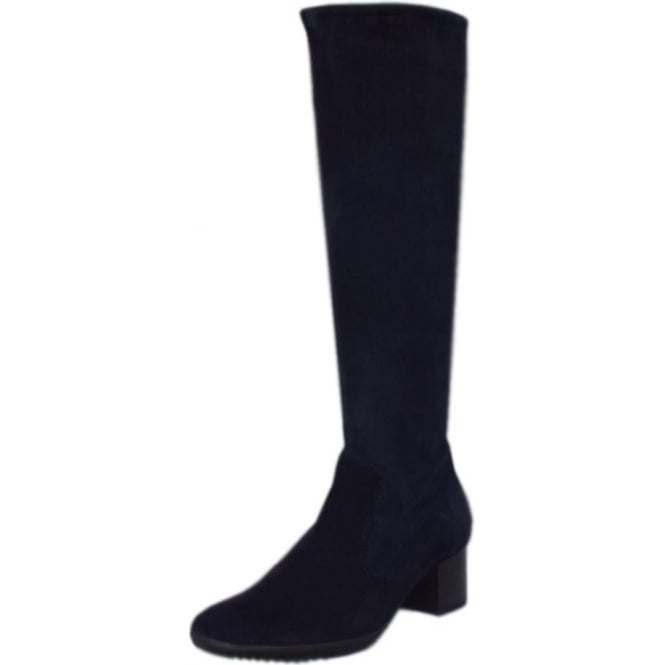 Ailo Pull On Stretch Suede Knee High Boots in Notte