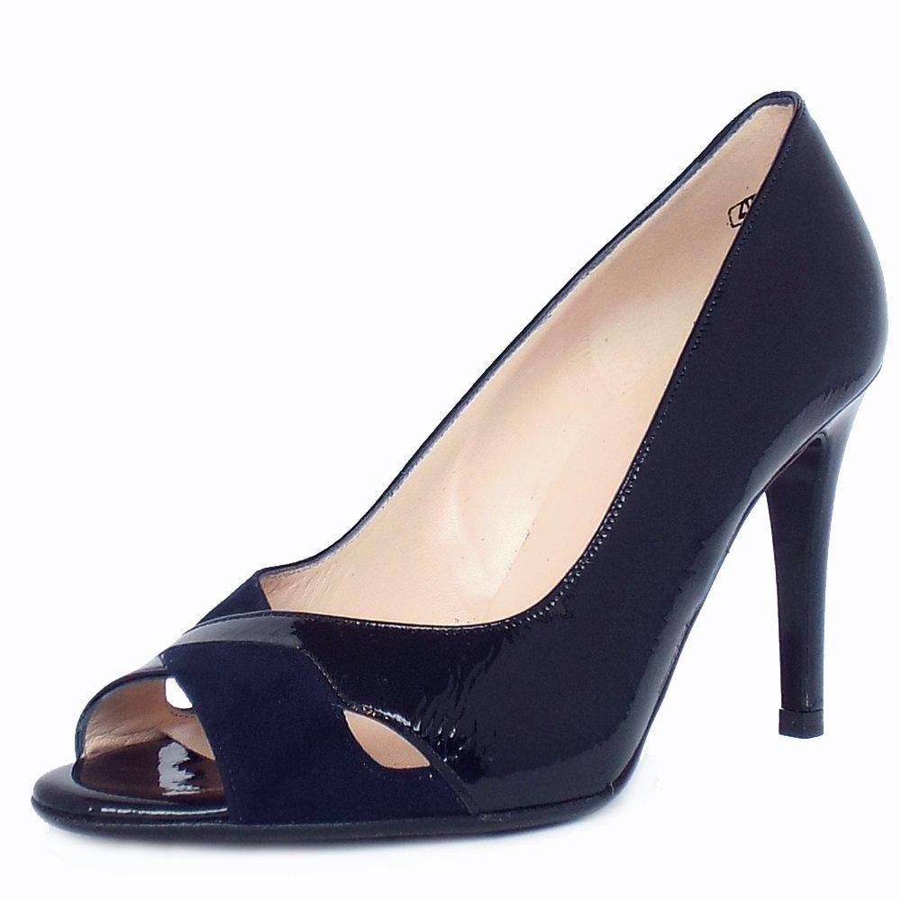 Navy Patent Peep Toe Shoes