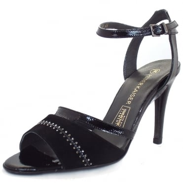 Amiga Evening Sandals In Black With Swarovski Elements