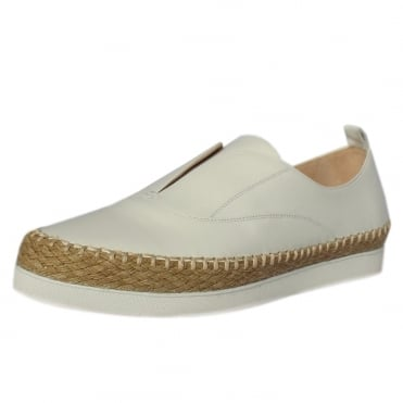 Anamarie Trendy Platform Espadrilles in White Leather
