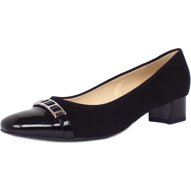 Peter Kaiser Arla Women's Low Heel Court Shoes in Black Suede and Patent