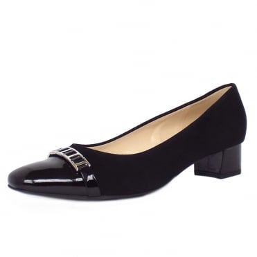 Arla Women's Low Heel Court Shoes in Black Suede and Patent
