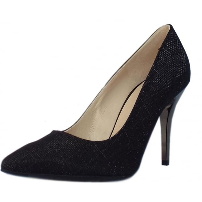 Peter Kaiser Atena Stiletto Court Shoe in Black Shimmer