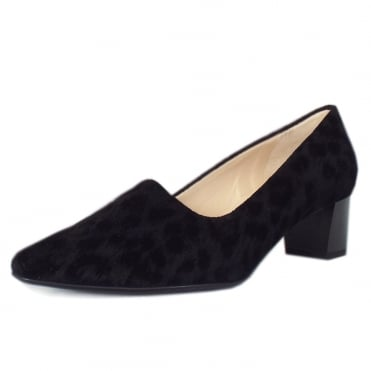 Basima Classic Low Heel Court Shoes in Black Tulia