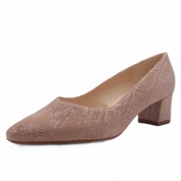 Bayli Low Heel Wide Fit Shoes in Rose Tiles