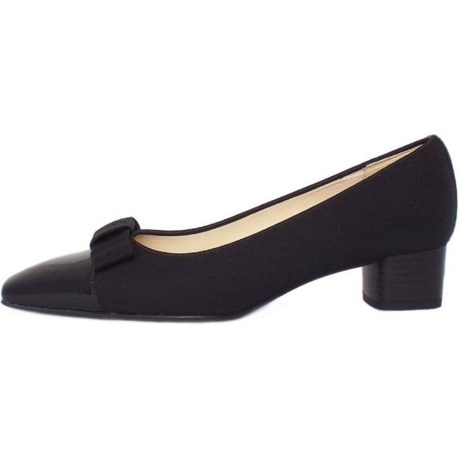 Peter Kasier Beli | Women's Black Low Heel Court Shoes with Bow Trim