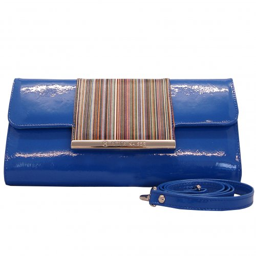 Sand patent clutch with multicolour front trim | Leather