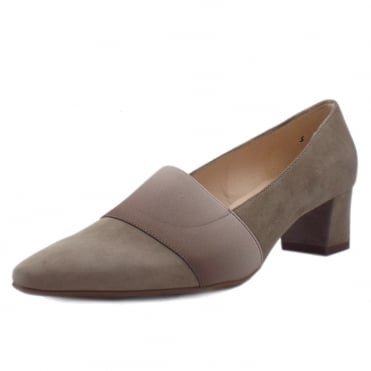Betzi Mid Heel Court Shoes in Taupe Suede