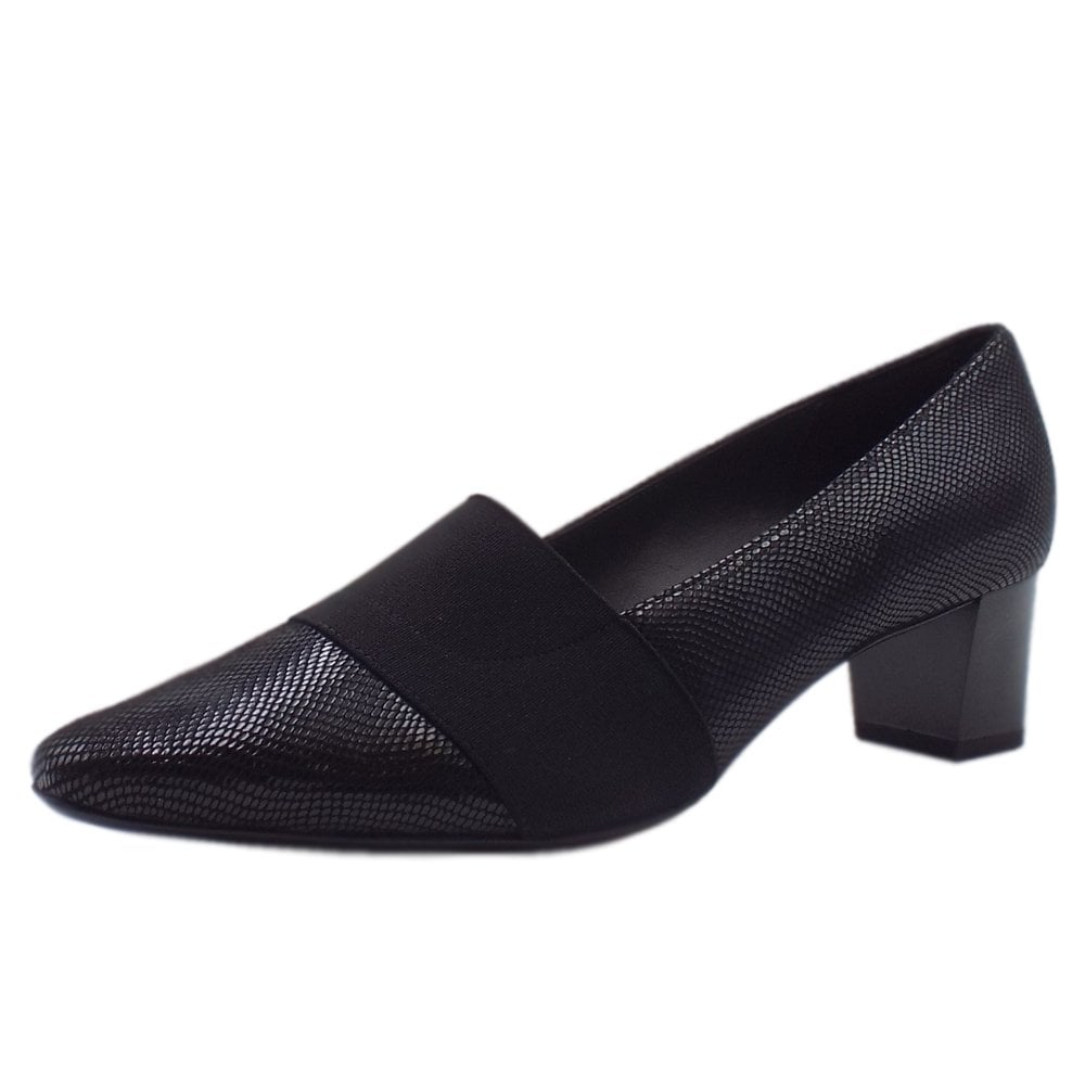 special discount of biggest discount stable quality Betzi Mid Heel Wide Fit Court Shoes in Black Sarto