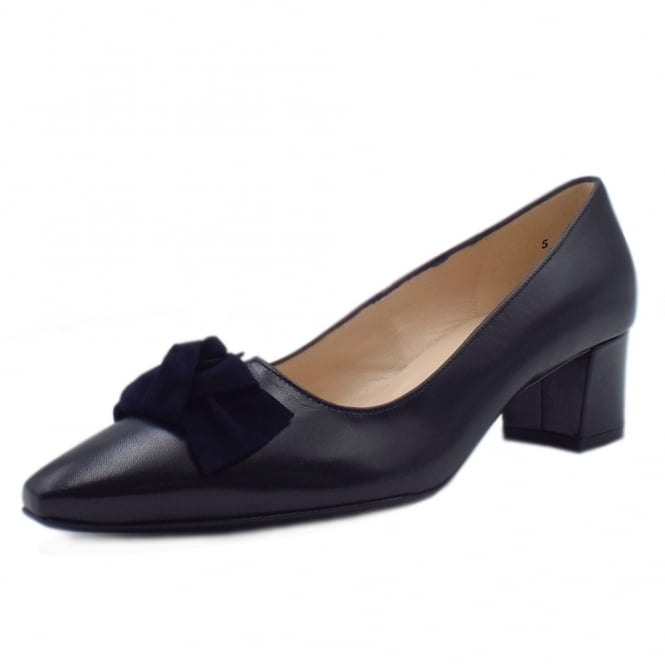 Peter Kaiser Binella Mid Heel Navy Leather Court Shoes With Suede Bow