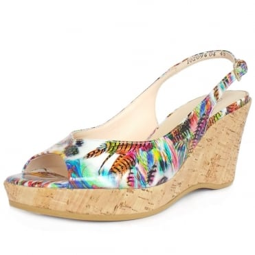 Peter Kaiser Bobby Wedge Sandals in Unique Print Patent Leather