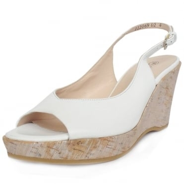 Peter Kaiser Bobby Wedge Sandals in White Leather