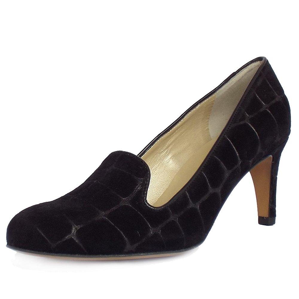 kaiser brix womens mid heel black suede court shoe