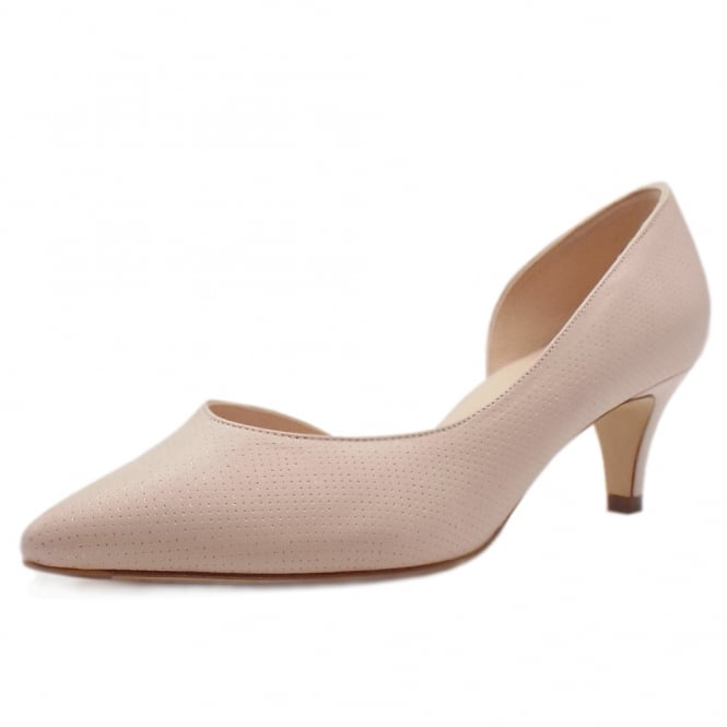 Peter Kaiser Caete Kitten Heel Pointy Toe Court Shoes in Powder Pin