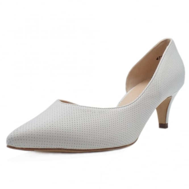 Peter Kaiser Caete Kitten Heel Pointy Toe Court Shoes in White Pin