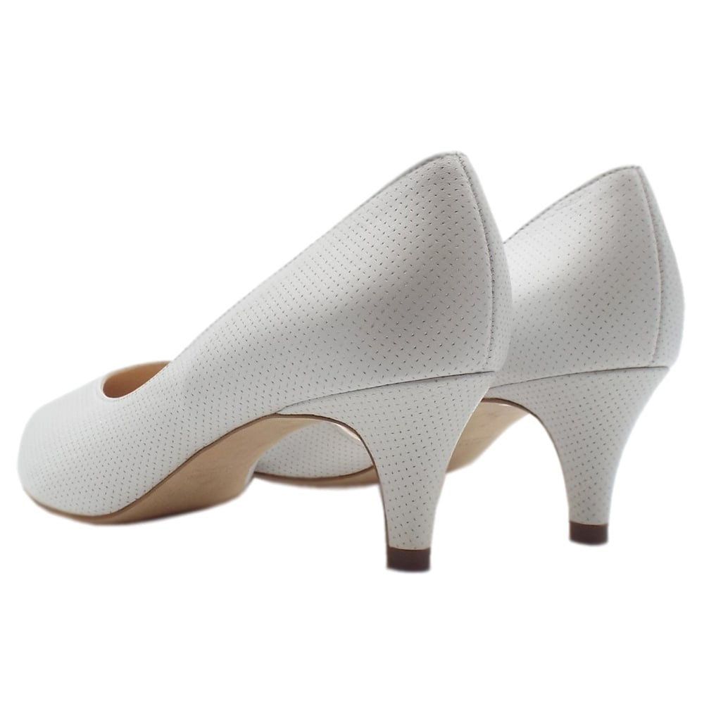 b245d0c508c Caete Kitten Heel Pointy Toe Court Shoes in White Pin