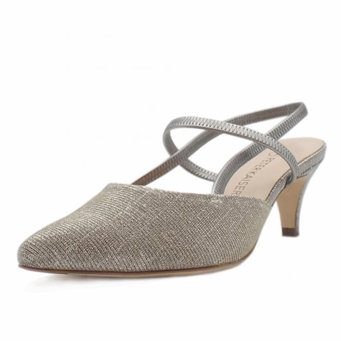 Peter Kaiser Calina Women's Dressy Low Heel Sandals in Sand Shimmer