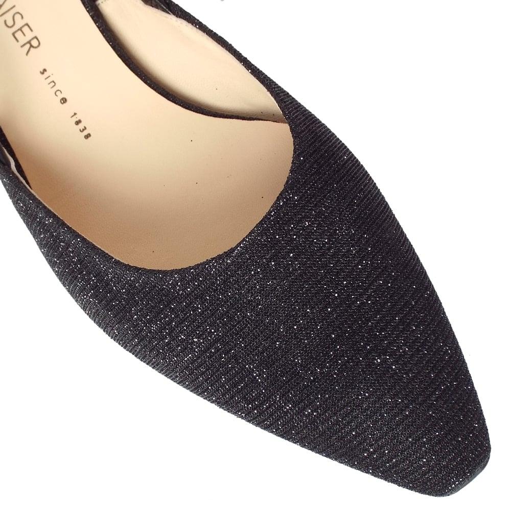7d8f1cd44eba3 Castra Women  039 s Dressy Low Heel Sandals in Black Shimmer