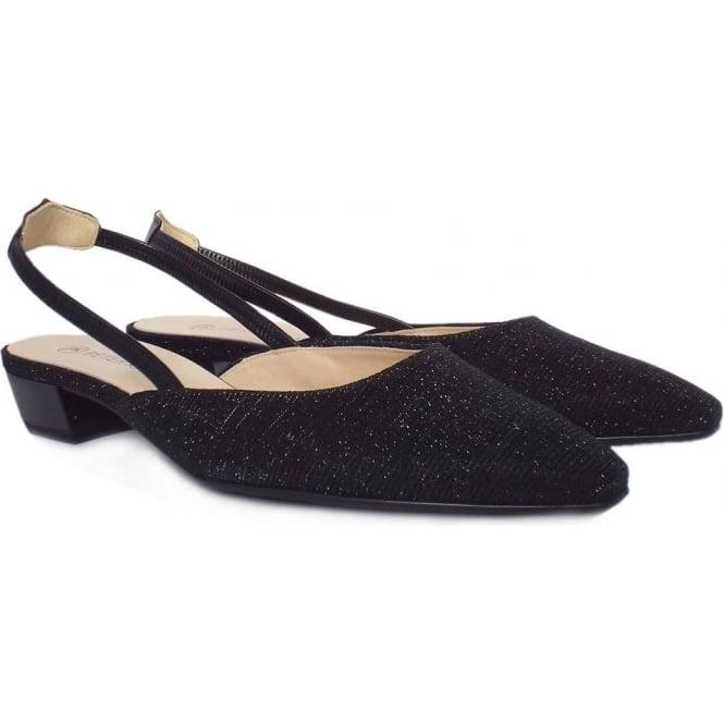 Castra Women  039 s Dressy Low Heel Sandals in Black Shimmer 4b523ee904