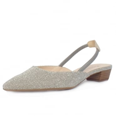 Castra Women's Dressy Low Heel Sandals in Sand Shimmer