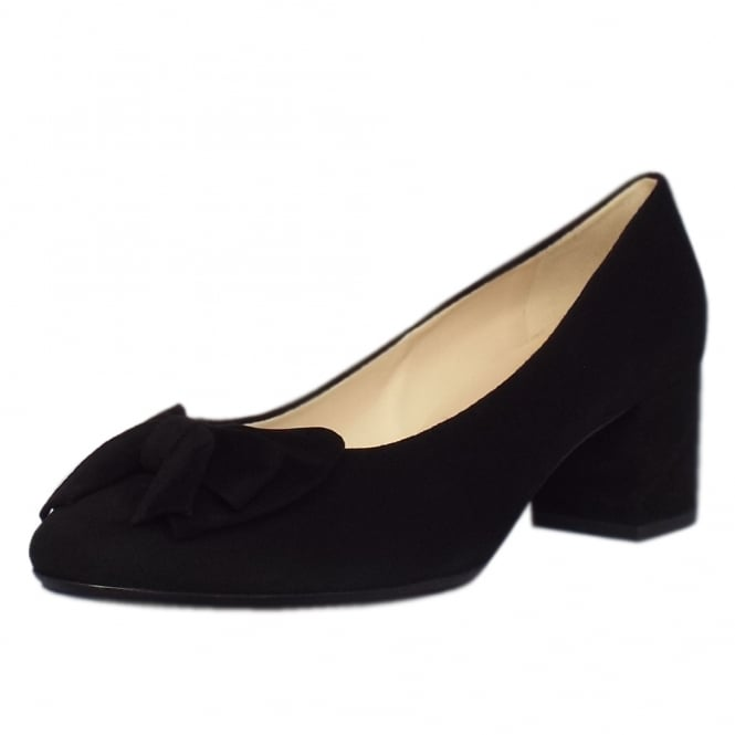 Peter Kaiser Christiane Low Heel Wide Fit Shoes in Black Suede