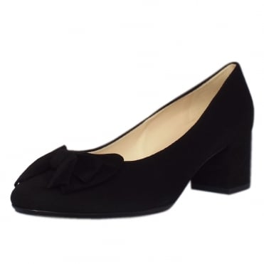 Christiane Low Heel Wide Fit Shoes in Black Suede