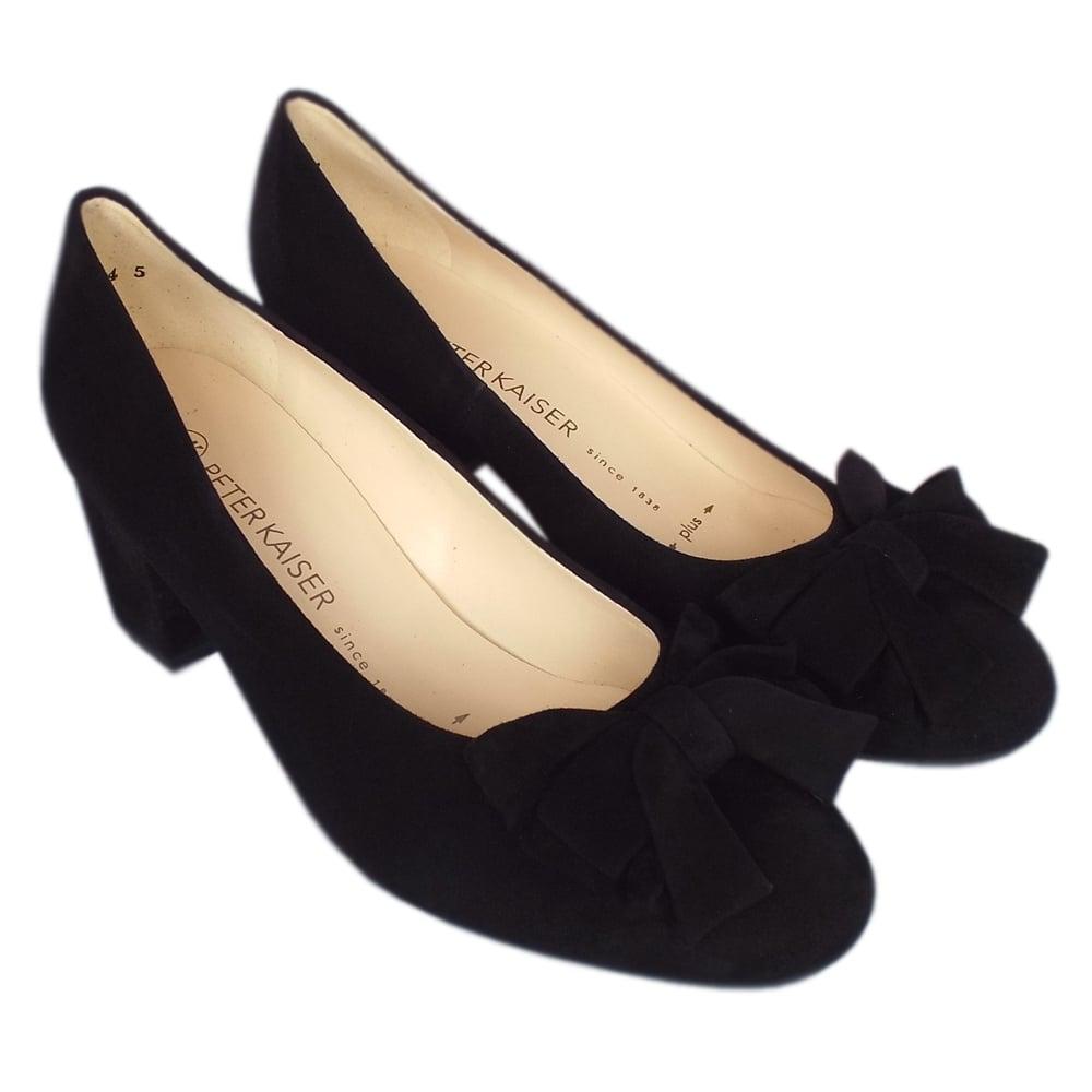 wide fit black suede court shoes