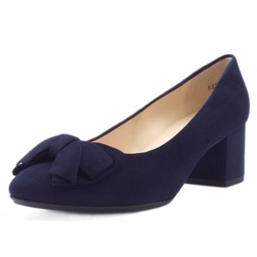 Christiane Low Heel Wide Fit Shoes in Notte Suede