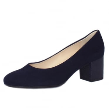 Christin Wide Fit Court Shoes in Notte Suede