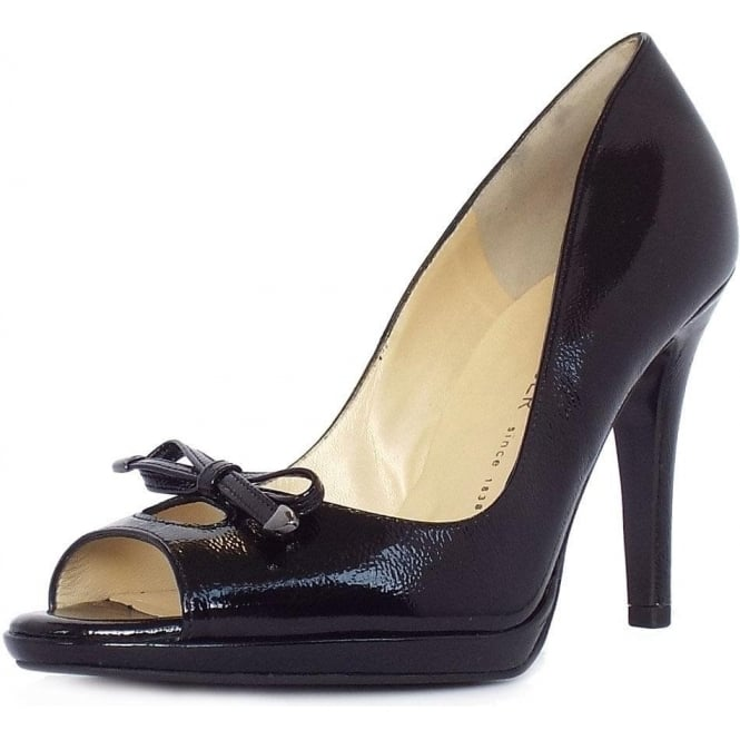 Peter Kaiser Cinua peep toe high heel shoes in black patent
