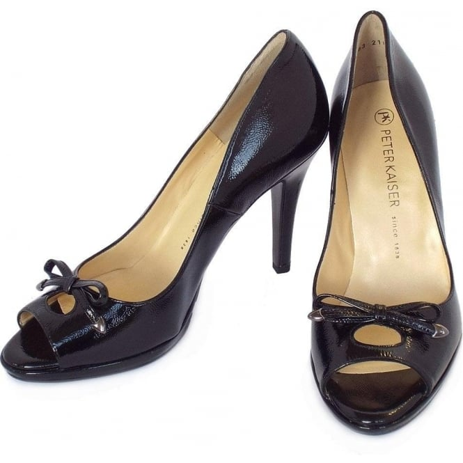 499790bc1b2c Cinua peep toe high heel shoes in black patent
