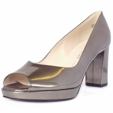 Cooky Block Heel Peep Toe Court Shoes in Metallic Pewter