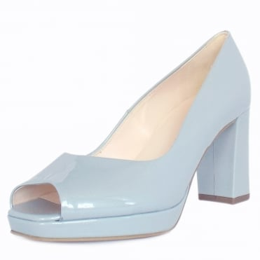 Cooky Block Heel Peep Toe Court Shoes in Pearlised Blue Patent