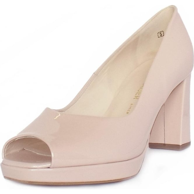 Peter Kaiser Cooky Block Heel Peep Toe Court Shoes in Pearlised Rose Patent
