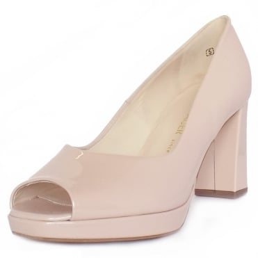 Cooky Block Heel Peep Toe Court Shoes in Pearlised Rose Patent