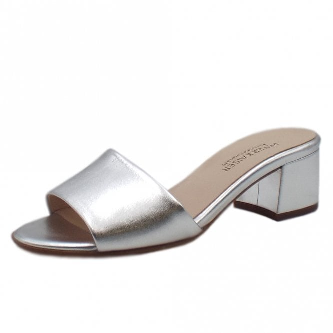 Peter Kaiser Cosma Low Heel Open Toe Shoes in Silver
