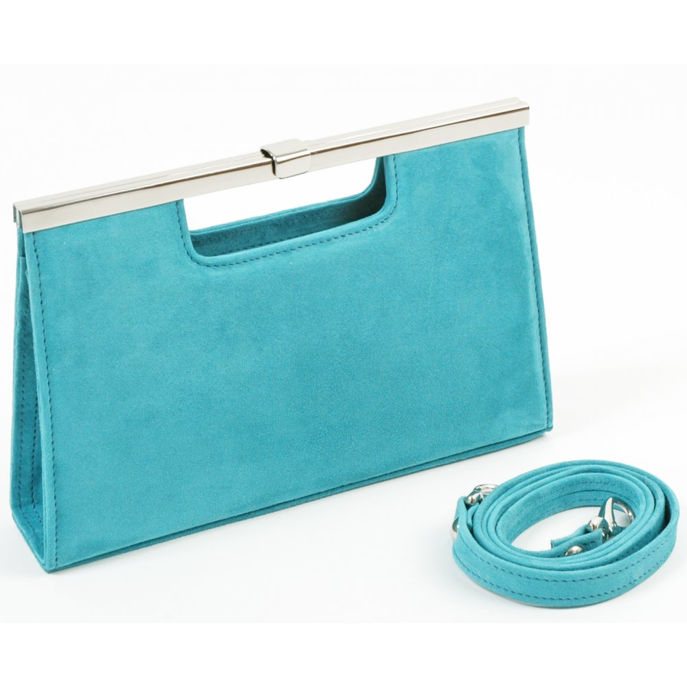 Peter Kaiser Cult S12 clutch bag in turquoise suede