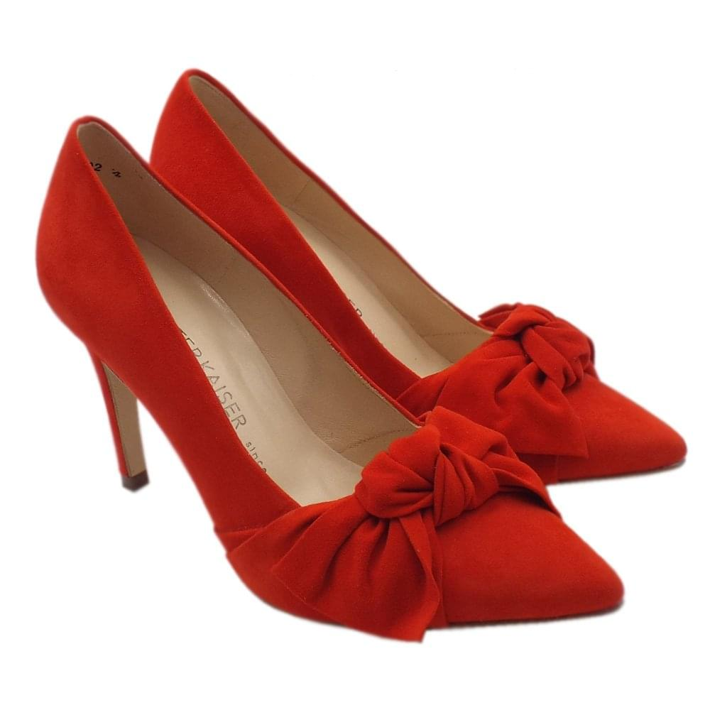 ccc09034ac0 Peter Kaiser Dilia High Heel Pointed Toe Court Shoes in Coral Red