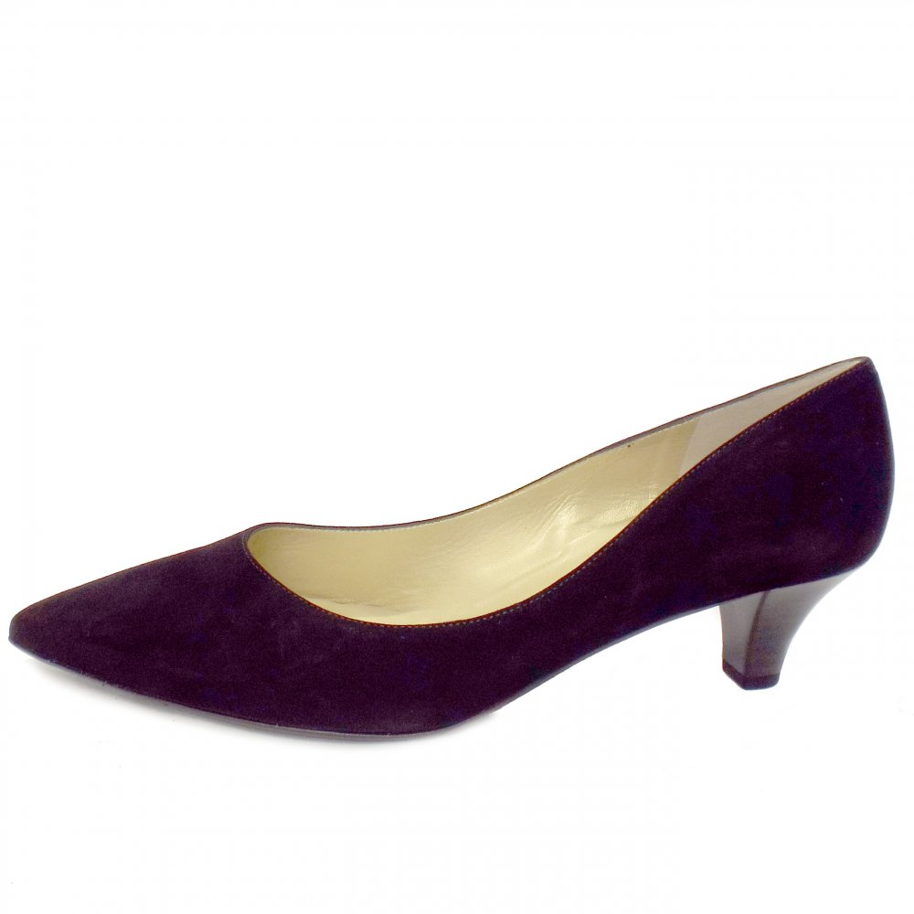 peter kaiser donjo black suede ladies kitten heel shoes mozimo. Black Bedroom Furniture Sets. Home Design Ideas