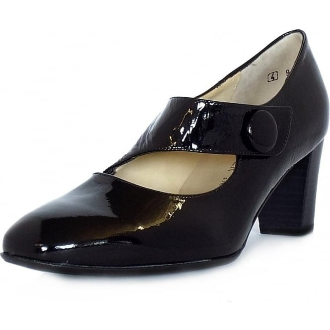 Peter Kaiser Dorothy Mary-Jane Style Wide Fit Court Shoes in Black Crackled Patent