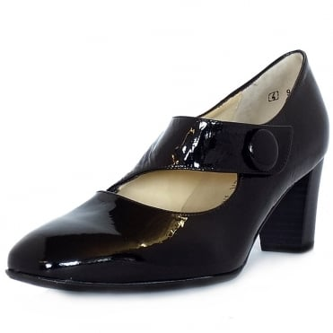 Dorothy Mary-Jane Style Wide Fit Court Shoes in Black Crackled Patent