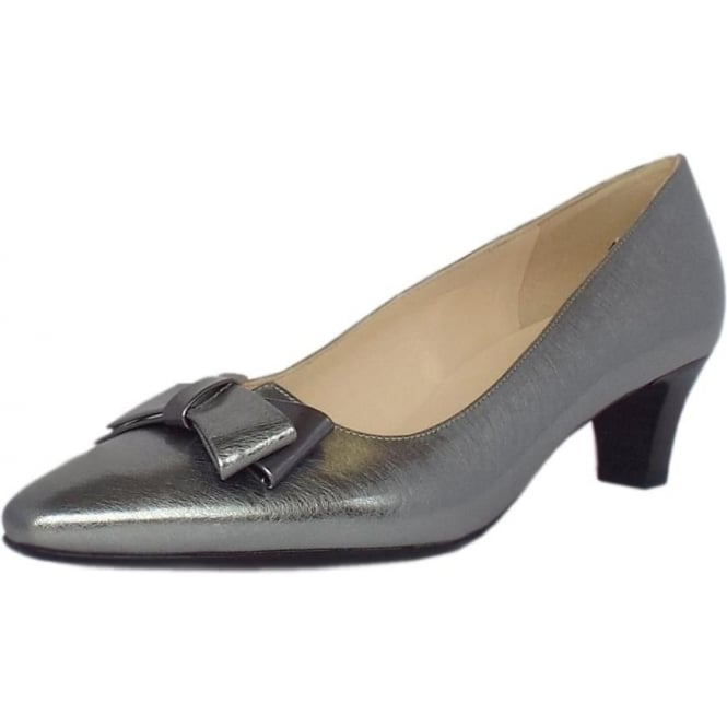 Peter Kaiser Edeltraud Women's Dressy Mid Heel Court Shoes in Brushed Effect Steel Silver Finish