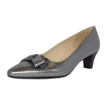 Edeltraud Women's Dressy Mid Heel Court Shoes in Brushed Effect Steel Silver Finish