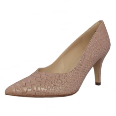 Elektra Dressy Pointy Toe Mid Heel Court Shoes in Powder Birman
